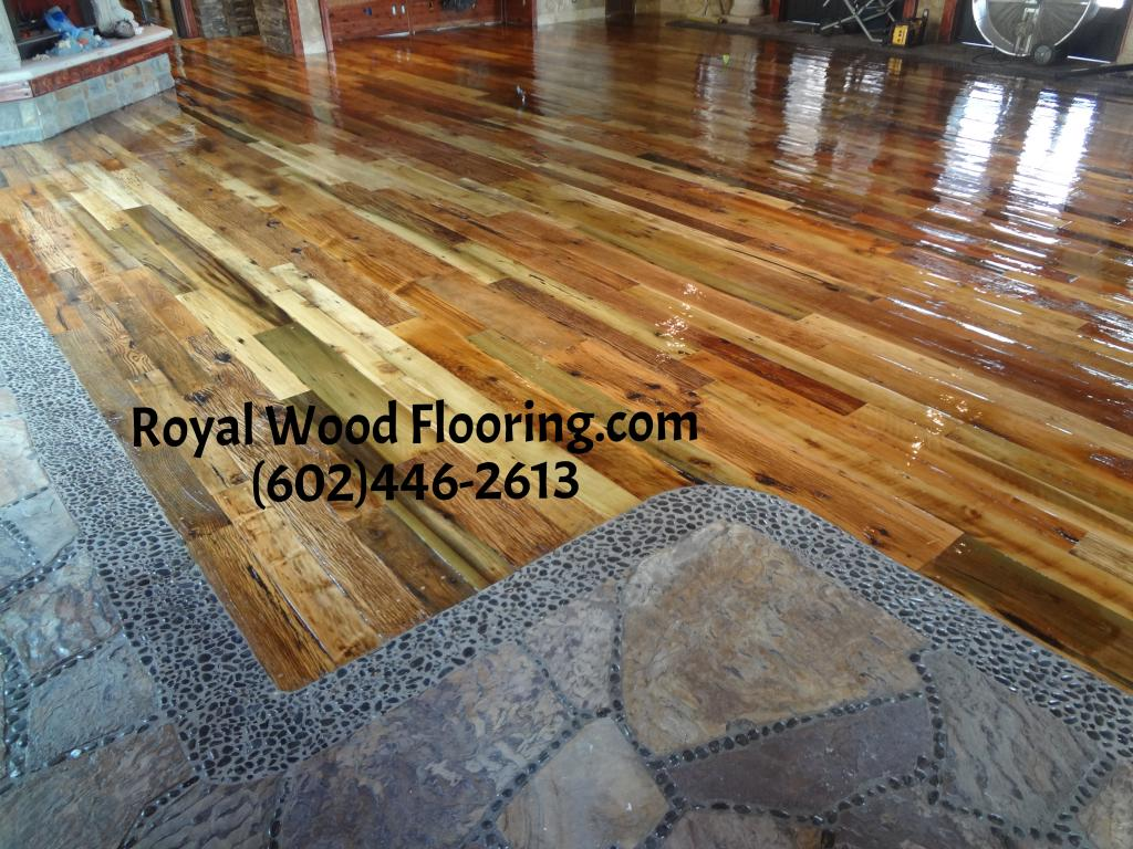 Reclaimed Barn Wood Flooring Installation Sanding Refinishing in Carefree Arizona