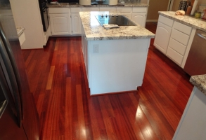 Brazilian Cherry wood flooring screen & recoat in Glendale Arizona