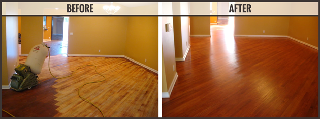 A comparison before & after Flooring makeover by Royal Wood Flooring